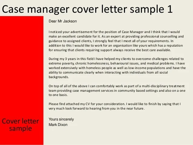 sample resume cover letter case manager