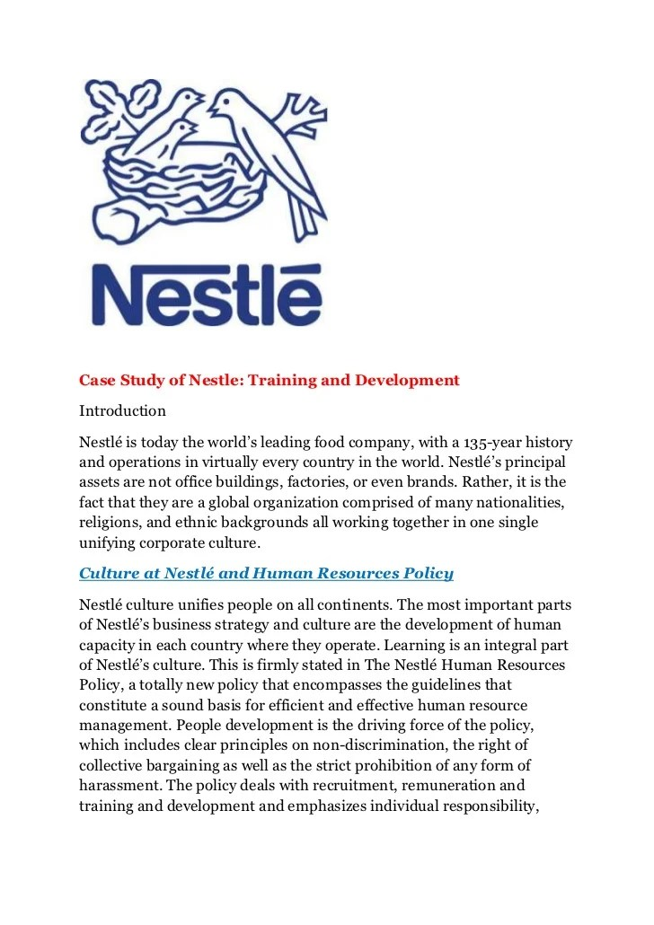 National Center For Case Study Teaching In Science Nccsts Case Study Of Nestle Training And Development