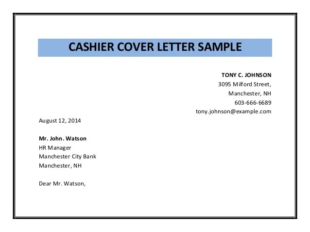Bank Cashier Cover Letter Covering Letters Bank Cashier Cover Letter Sample Pdf