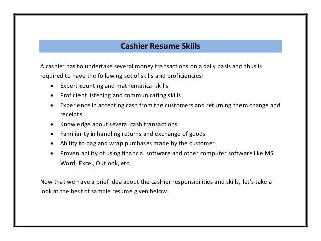 Job Description For Cashier On Resume Cashier Job Description For Resume Cover Letters And Cashier Resume Sample Pdf