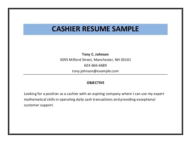 A Sample Resume Objective Examples Of Resume Objective Free Sample Resume Examples Cashier Resume Sample Pdf
