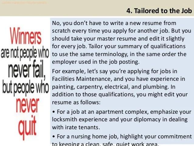 master tailor resume sample