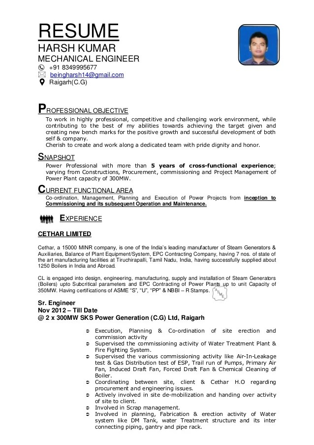 company resume format - Minimfagency - certified plant engineer sample resume
