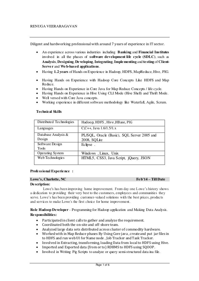 developer resume - Hadoop Developer Resume