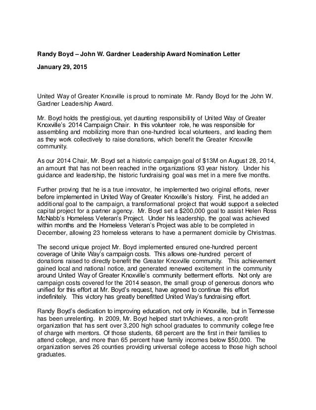 letter of recommendation for volunteer award - Selol-ink