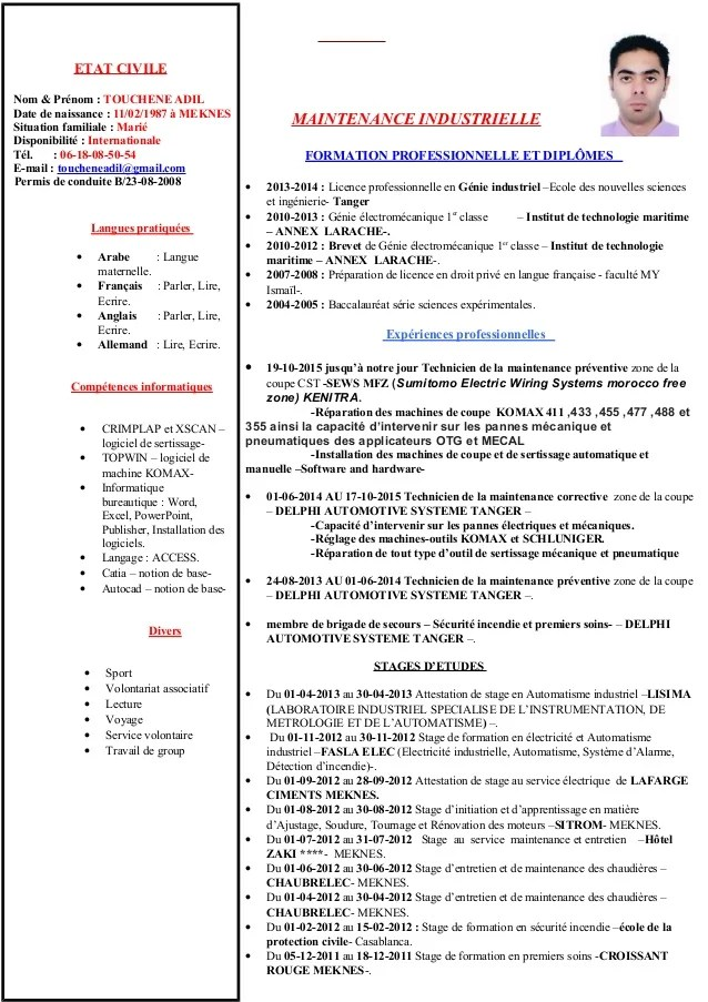 cv ingenieur maintenance industrielle