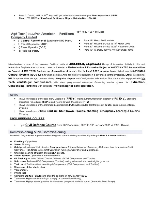 plant operator resumes - Onwebioinnovate