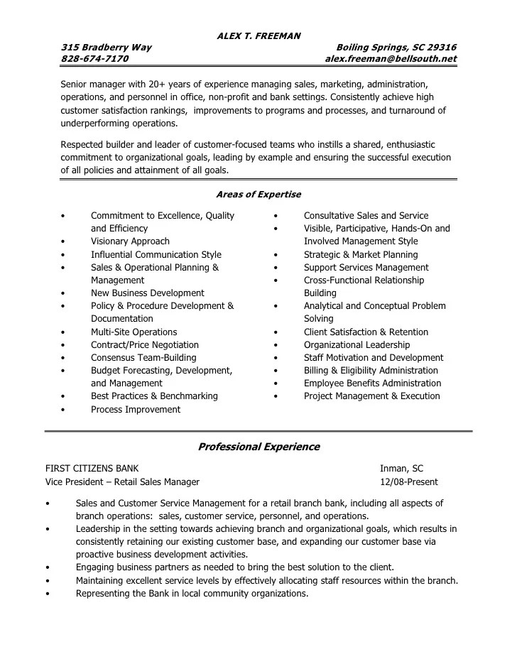 bank administration resume - Onwebioinnovate