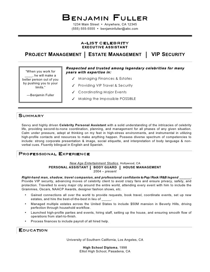 Sample personal bodyguard resume