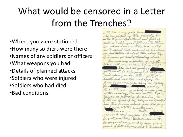 First World War Feature Articles Life In The Trenches Censorship Ww1