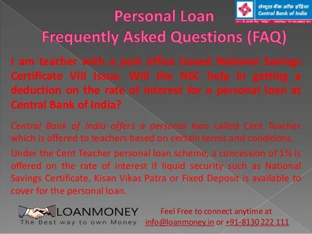 Central Bank of India Personal Loan in Delhi/NCR through LoanMoney