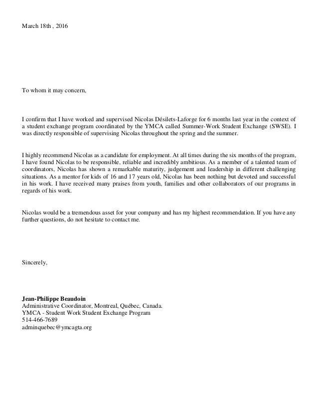 recommendation letter student exchange program - Towerssconstruction