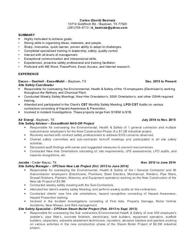 resume for yard supervisor