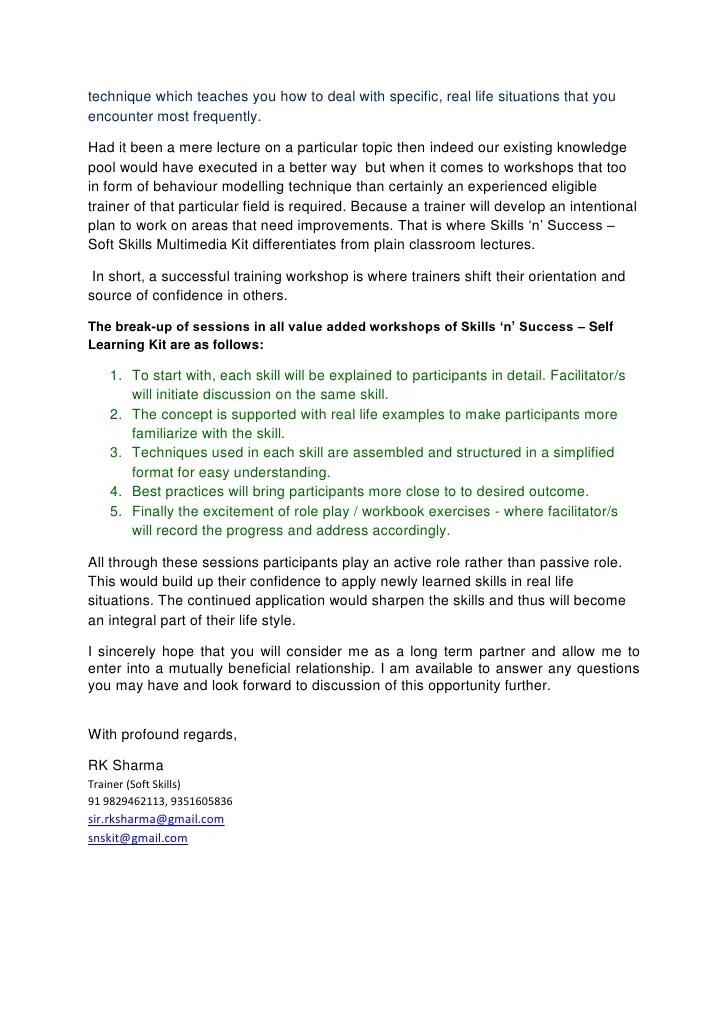 soft skills training proposal sample - Ozilalmanoof