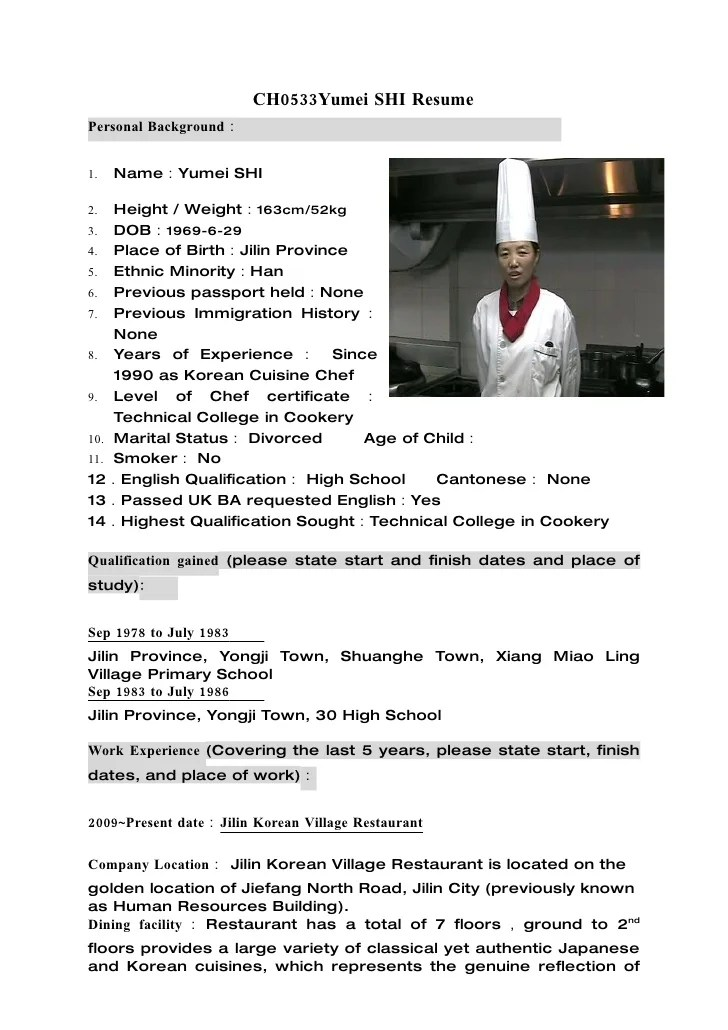 chef resume resume cv cover letter
