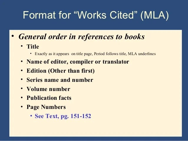 works cite mla