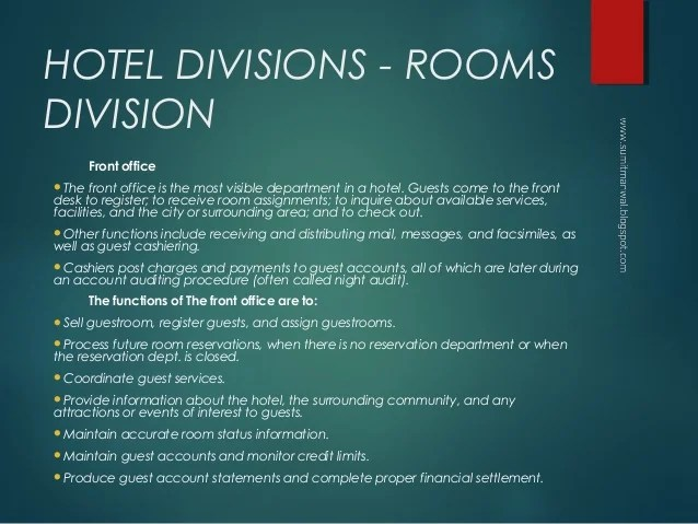 Home Ou Human Resources Chapter 12 Hotel Departments