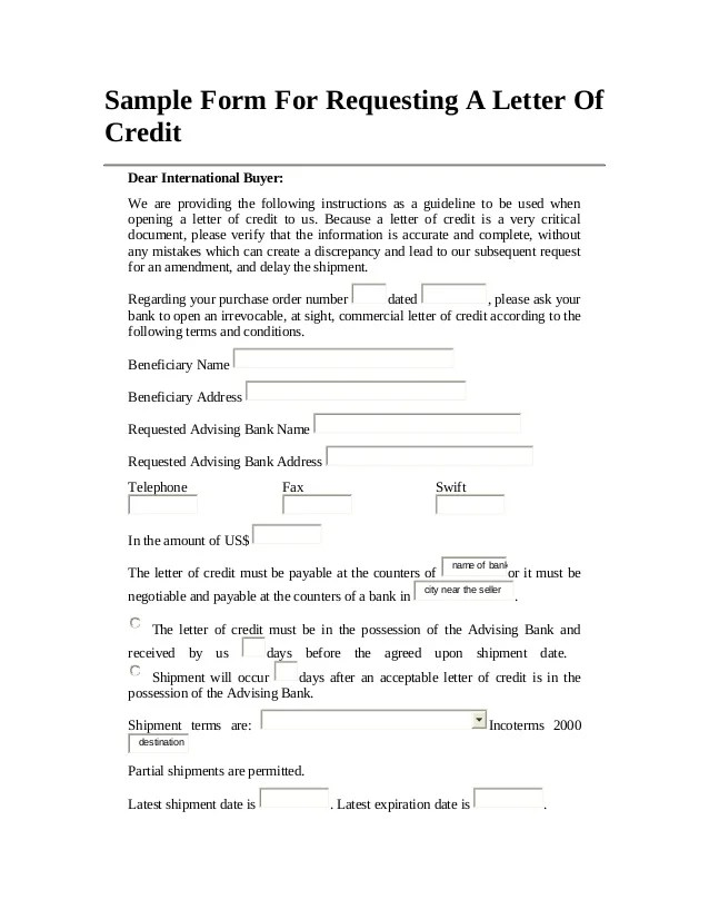 irrevocable letter of credit application form application and amendment forms cibc trade finance sample form for