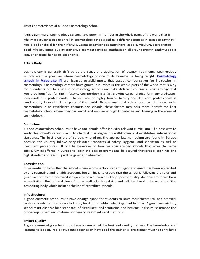 Beauty school essay Research paper Example - akmcleaningservices