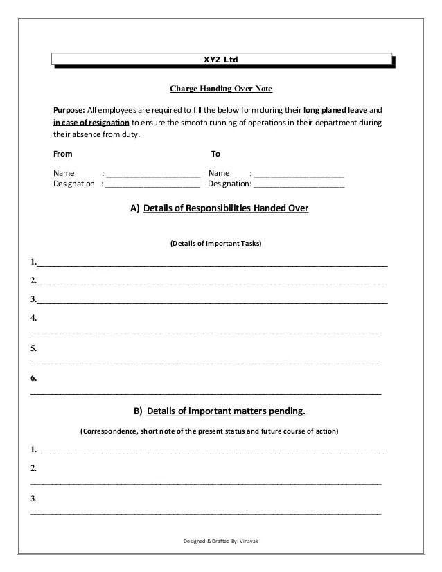 material handover format - Selol-ink