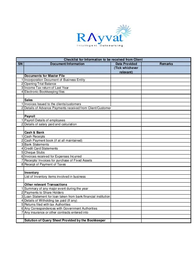 Accounting Software Rfirfp Template Axia Consulting Bookkeeping Checklist