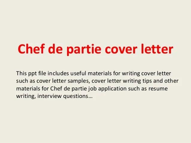resume for chef de partie example
