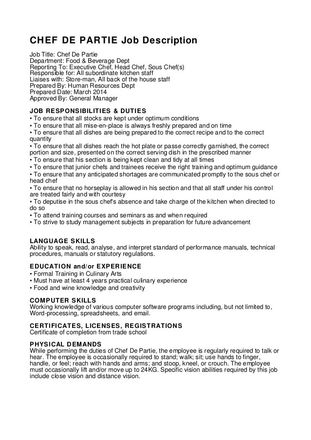 chef de partie cv pdf english