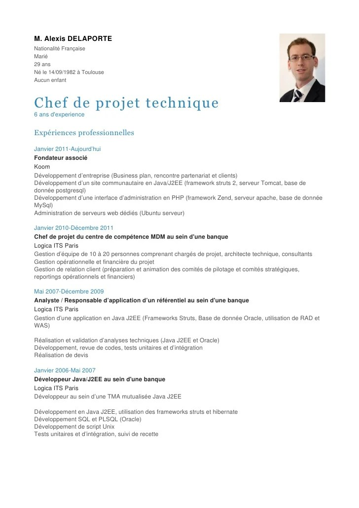 exemple cv responsable technique batiment