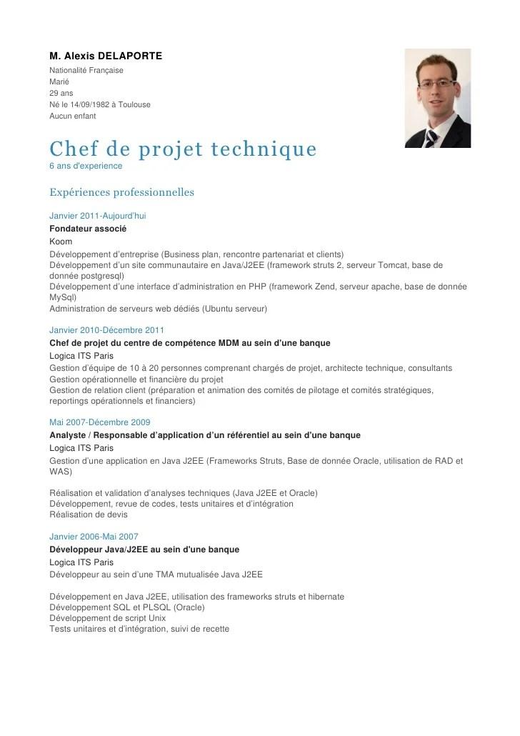 competence chef de projet cv