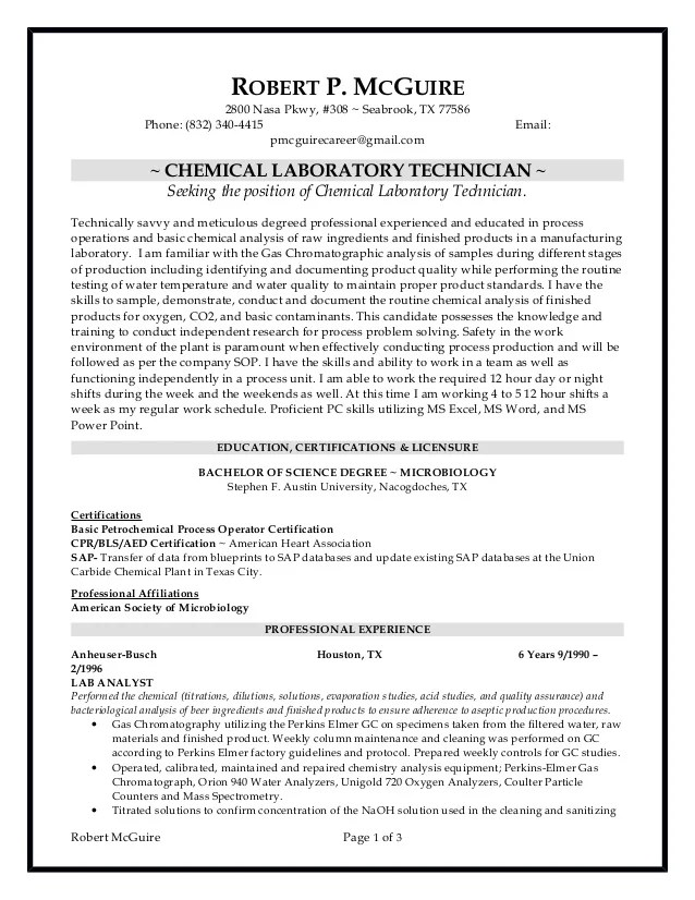 Build A Free Resume With Builder Template Chemical Lab Technician Resume 6 10 2016