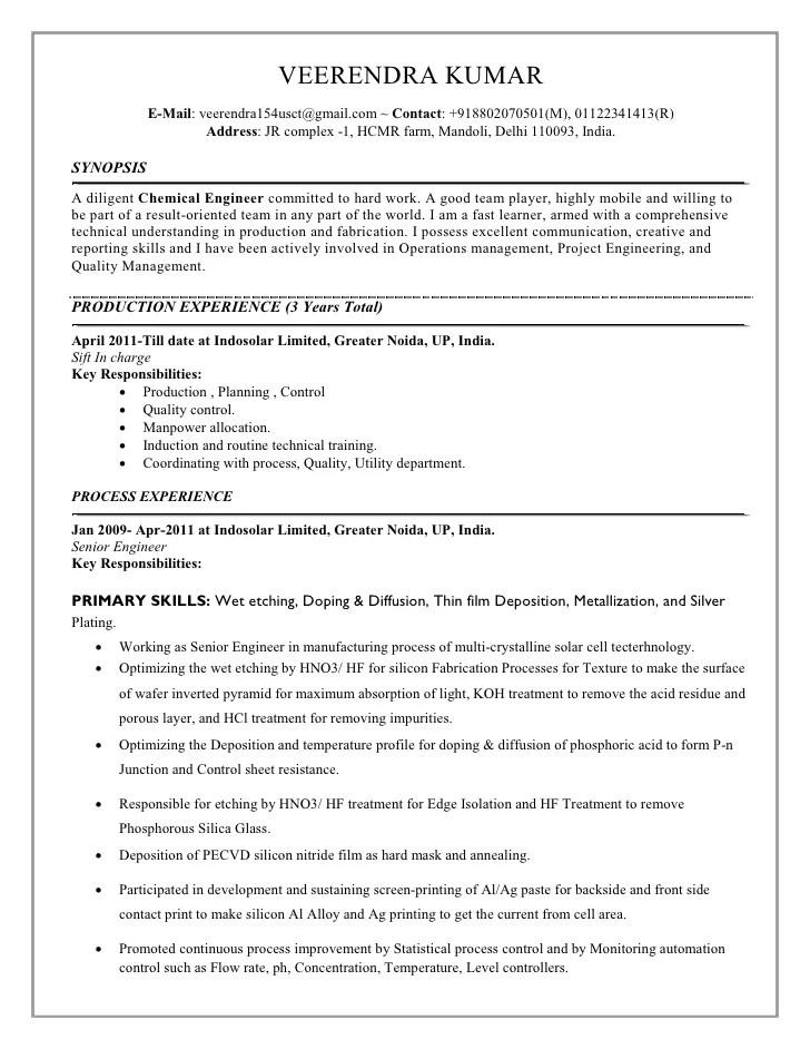 chemical process engineer resumes - Romeo.landinez.co