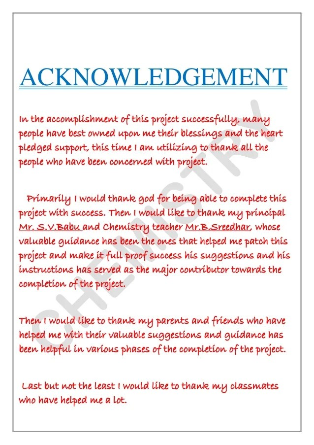 science fair research paper acknowledgements