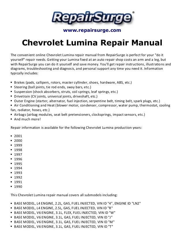 96 Chevy Lumina Engine Diagram Electrical Circuit Electrical