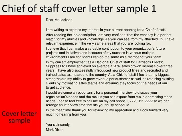 Cover Letter Sample Tips For Writing A Cover Letter Chief Of Staff Cover Letter