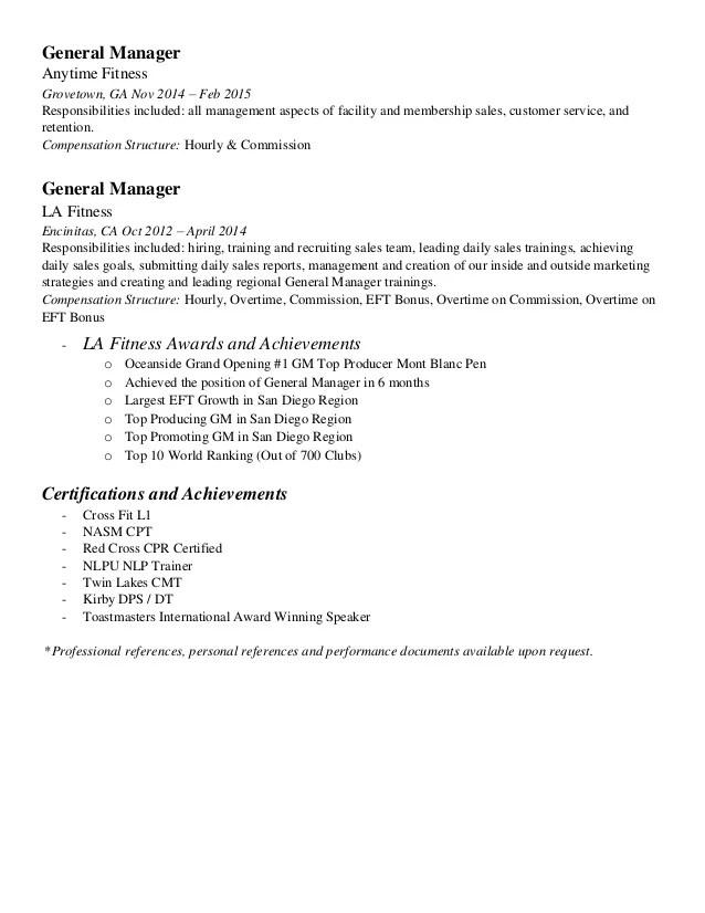 fitness resume samples - Vatozatozdevelopment
