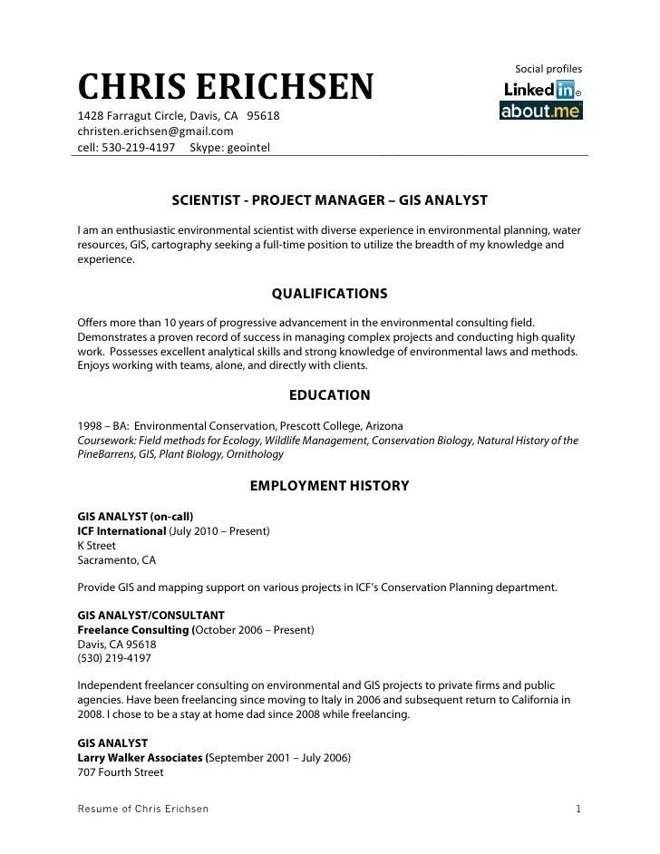 gis resume samples - Koranayodhya