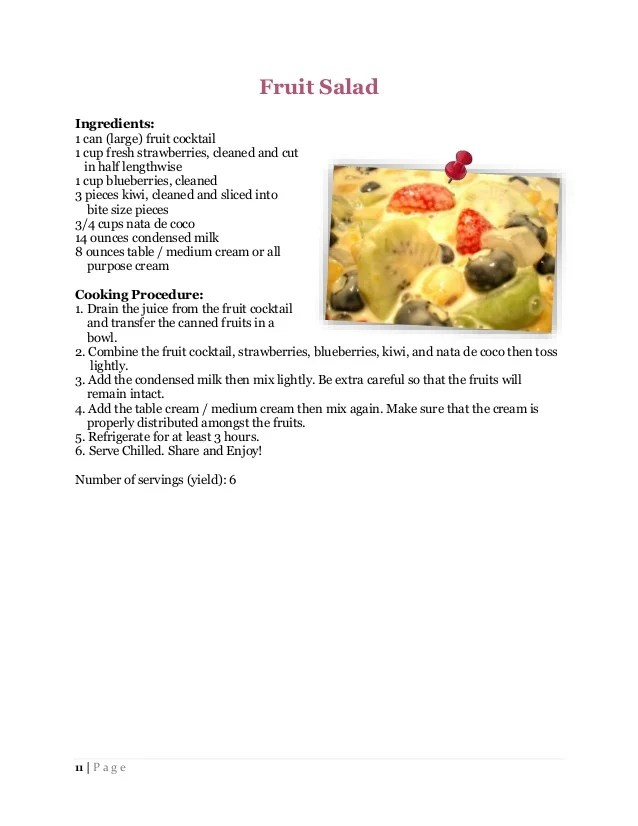Fruits Recipes With Ingredients And Procedure