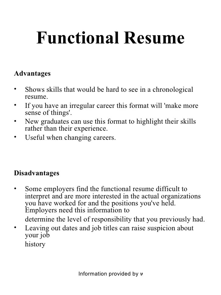 differences between chronological and functional resume