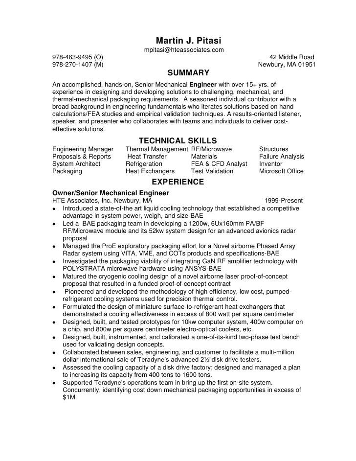 Electronic Packaging Engineer Sample Resume | Resume CV Cover Letter