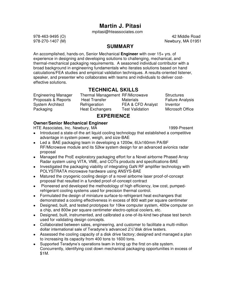 resume senior mechanical engineer contract employee relieving standard resume format for mechanical engineers pdf resume senior - Electronic Packaging Engineer Sample Resume