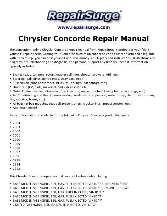 2003 Chrysler Concorde Engine Diagram - wiring diagrams image free