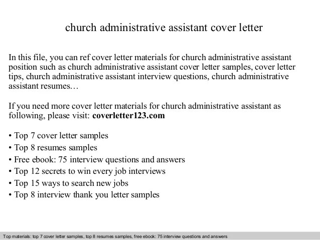 Administrative Assistant Cover Letter For Administrative Jobs Church Administrative Assistant Cover Letter