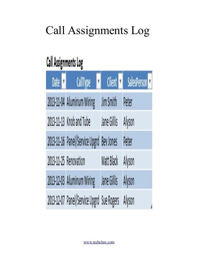 Sales Call Log Template - Eliolera - how to create call log template