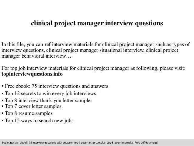 clinical project manager resumes - Canasbergdorfbib