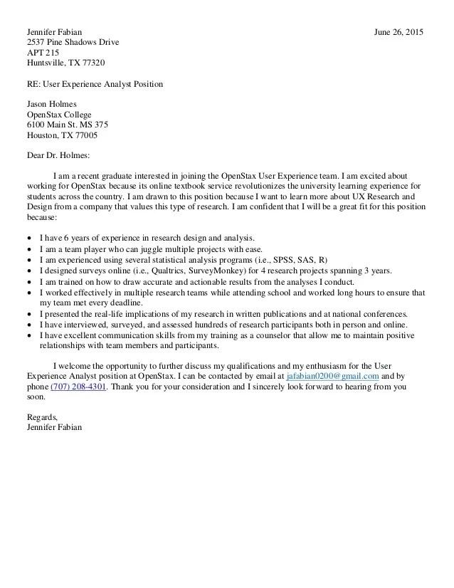 ux researcher cover letter - Pinarkubkireklamowe