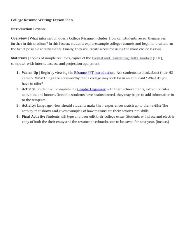 Lesson Plan On Resume Writing - Resume Examples | Resume Template