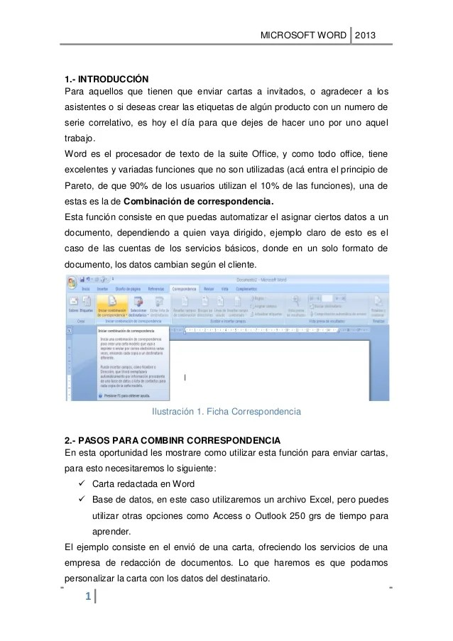 como combinar correspondencia en word 2013