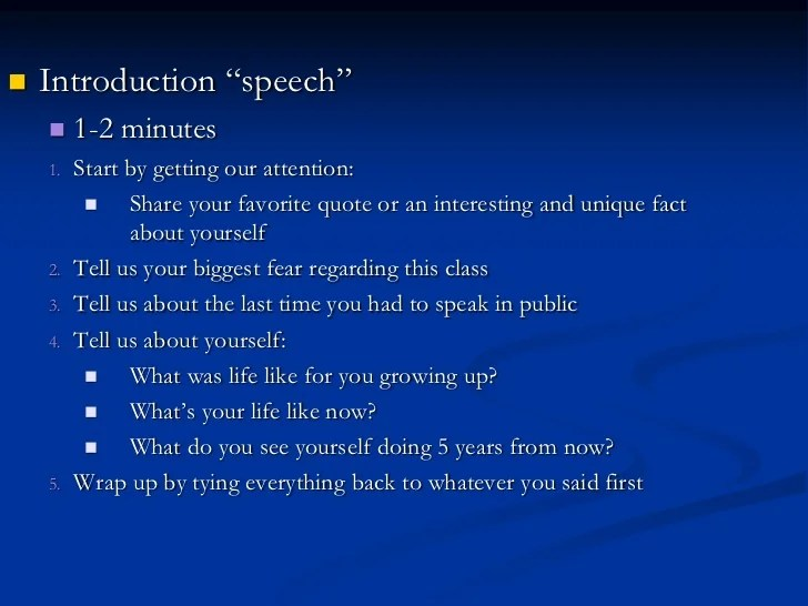 intro of speech Introductory techniques beginnings are everything this is why politicians use quotes all of the time in their speeches 4) use an outrageous statement.
