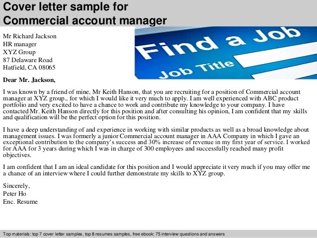 commercial account manager job description - Alannoscrapleftbehind