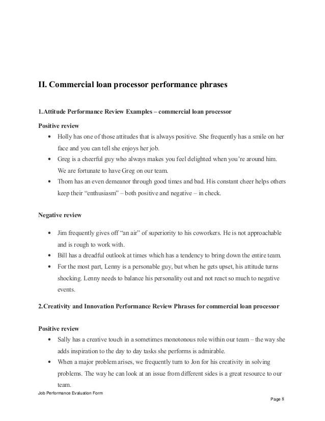 Commercial loan processor performance appraisal